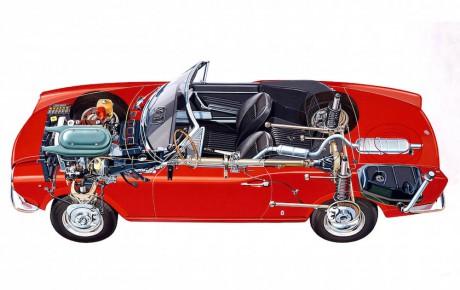 Fiat 124 Spider på vej med motoren fra 4C